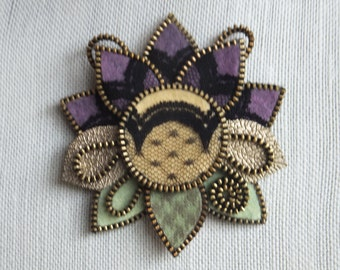 Zipper Felt Flower Brooch Pin in Purple, Yellow with black Lace, One of a kind