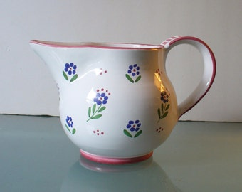Vintage Floral Motif Water Pitcher Made in Italy