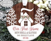 Our First Home Ornament- First Christmas New House Gift- Housewarming Gift- Realtor Gift - Personalized Home Ornament