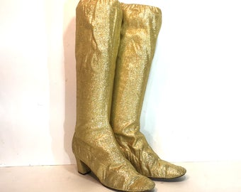1960s gold lurex go go boots - size 9 - 1960s gold gogo boots - 1960s mod boots - metallic stretch lurex gold boots - 60s boots