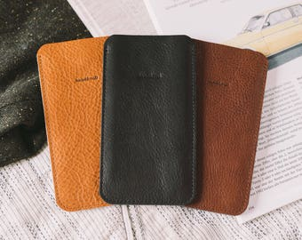 """Case for Nexus 5X, pouch, leather, felt, """"Dandy"""", by band&roll"""