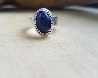 Lapiz Lazuli Silver Ring Lapiz Lazuli Jewellery Lapiz Lazuli Stone Silver Ring Gemstone Ring Birthstone