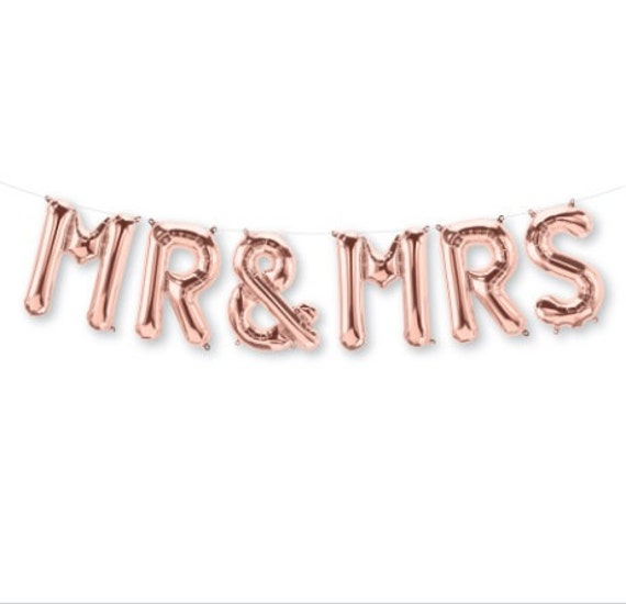 Mr mrs rose gold letter balloon garland banner air fill for Mr and mrs letter balloons