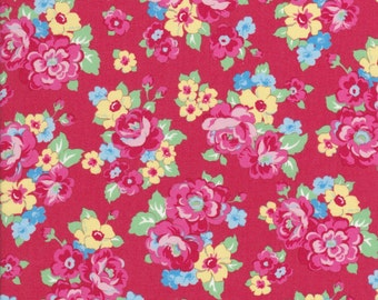 Red Floral Fabric - Blue Floral Fabric - Yellow Floral Fabric - Retro 30s Child Smile - Lecien Fabric