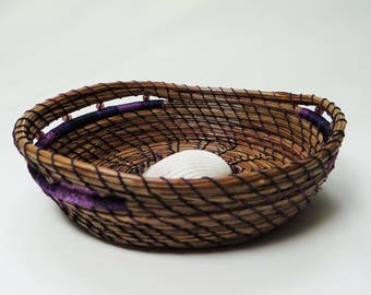 Pine Needle Basket Sea Shell Pine Needle Basket For Her Native American Basket Housewarming Gift Basket Purple Wedding Basket Beach Basket