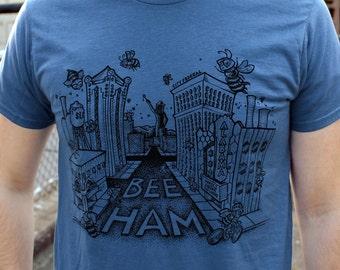 BLUE, MEDIUM- Buzz About Bee-ham T-shirt