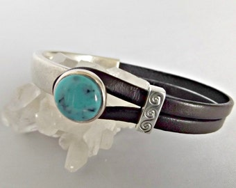 Leather bracelets for women, turquoise, leather bracelets, turquoise bracelet, women bracelet, turquoise cuff, leather jewelry, K1953