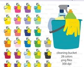 Bucket of Cleaning Supplies Icon Digital Clipart in Rainbow Colors - Instant download PNG files - cleaning bucket