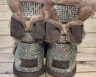 Bling UGG boots - crystal UGG boots - sparkly uggs - womans ugg boots - custom UGG boots- bling uggs with bows - naveah ugg boots- grey uggs