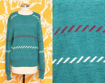Green Striped Sweater // Slouchy Knit Sweatshirt // 80s Cozy Hipster Sweater Iredel County Size Medium