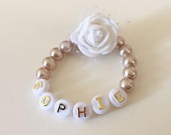40% SALE, Pearl Name Bracelet, Champagne Pearl Rose Bracelet, Baptism Gift, Christening, Baby Shower Gift, Personalised Bracelet,Baby Baptis