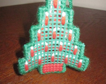 Candle Adorned Plastic Canvas Christmas Tree Ornament