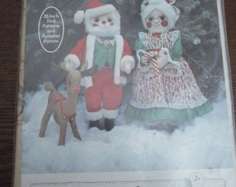 Mr. & Mrs. Santa Claus and Rudy Reindeer Patterns