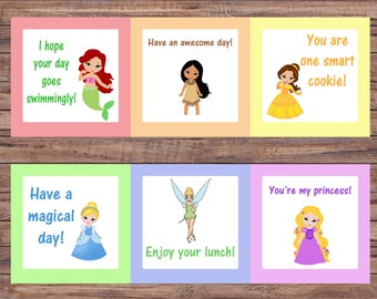 Princess Lunch Box Notes - Printable - Digital Lunch Notes - Disney School Princess Cards - Kindergarten/Elementary Learning - Princesses