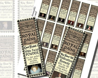 Fantasy Potion Labels -- British Royalty, Kings and Queens, BOTTLE LABELS (1x3 Inches, 25x75 mm)
