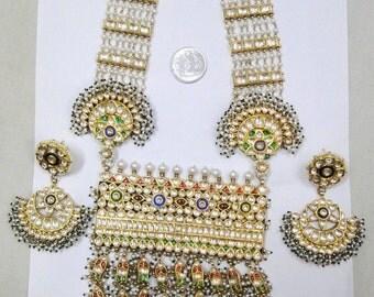 Vintage Antique Solid 20K Gold Gemstone Pendant Necklace Earring Rajasthan India