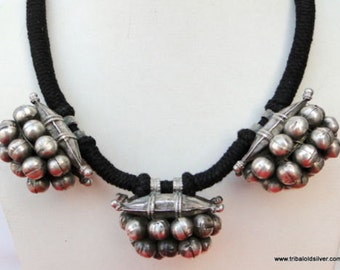 Antique Ethnic Tribal Old Silver Necklace Pendant India