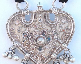 Rare! Ancient Tribal Old Silver Thread Necklace Pendant