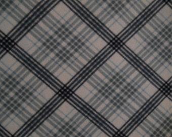 Navy/Gray/Light Blue/White Plaid - Fleece Blanket (Large) - Ready to Ship