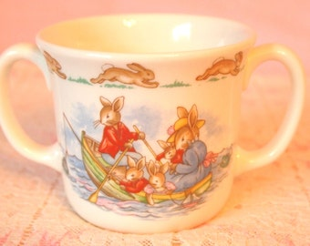 Royal Doulton Bunnykins Mug | Childrens Mug | Childs Cup | 2 Handled Mug | Row Boat Scene with Crab Fishing