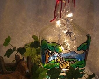 Horse Running in Pasture Makers Mark Bourbon Bottle Lamp