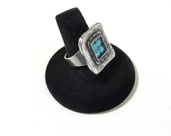 Avgad Ring Made in Israel Silver Tone Adjustable Faux Turquoise