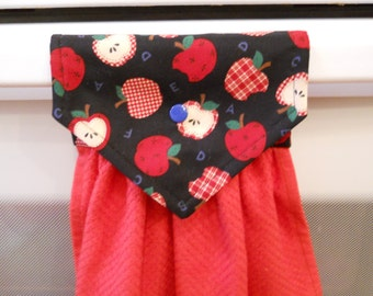 APPLES adorn this lovely  hanging red kitchen towel.