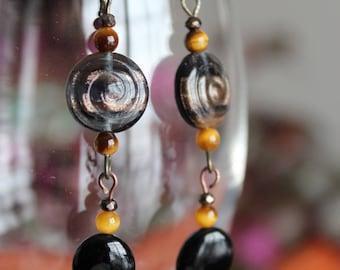 Black onyx, tiger eye, and glass bead pendant earrings