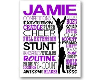 Cheerleading Stunt Team Art, Cheer Typography Poster, Personalized Cheerleader Art, Custom Cheer Gift, Stunt Team Gift, Cheer Squad Gift