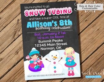 Snow Tubing Birthday Party Invitation, Sledding Birthday Party, Snow Party, Winter Party, Printable Birthday Party Invitation