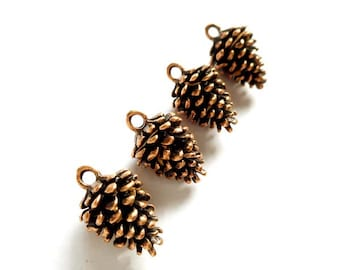 4 Antique Copper Pine Cone Charms - 30-9-2