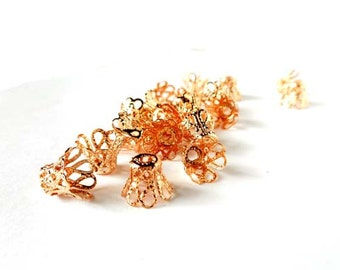 20 Rose Gold Plated Filigree Flower Bead Caps - 18-RG