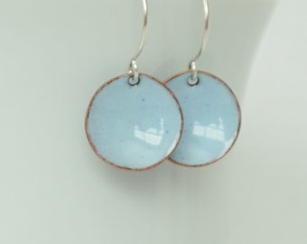 Pale Blue Enamel Earrings - Isle Blue - Enamel Jewelry