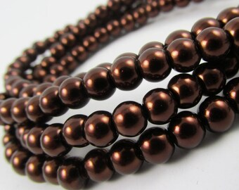 30 Glass pearl beads 14mm Mocca Brown Chocolate Sepia loose bead strand spacer wholesale bulk czech glass bead round top quality [C35-115]