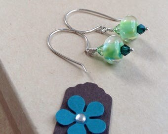 Green lampwork earrings, Green Earrings, Lampwork Earrings, Dangle Earrings