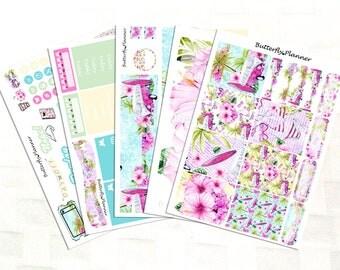 Beach Day Summer Planner Sticker Kit, Vinyl Stickers, Hawaii Vacation, Floral, Erin Condren Sized