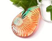 Amber Art Glass Droplet Pendant, Fused Glass Jewelry, Translucent Dichroic Glass Necklace, Bold Geometric Design