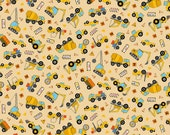 Connector Playmats Construction Truck Toss fabric -tan - Northcott - by the YARD
