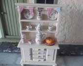 Dollhouse  dresser hutch hand painted  cream 1 12th  miniature furniture for a dolls house