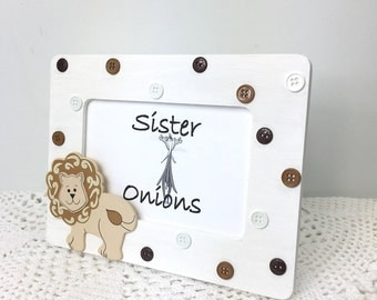 Baby Button Picture Frame Liam Lion Embellished Picture Frame - Nursery Decor