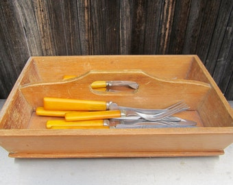 vintage cutlery wood box