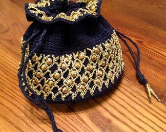 Antique Vtg. 1940's Silk Crochet Jeweled Bag Pouch style Purse