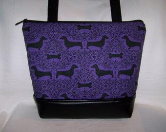 Purple Dachshund Purse - Wiener Dog - Handbag - Purse - Shoulder bag