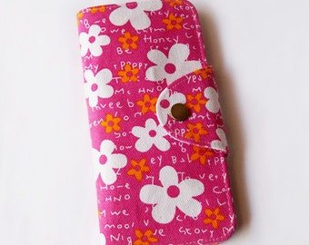 SALE 30% OFF - Blossom White Floral in Hot Pink Long Passport Wallet, Boarding Pass Holder, Family Passport Wallet