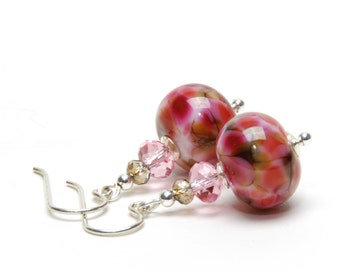 Desert Rose Pink Lampwork Glass Earrings - Sterling Silver Earwires - Cranberry, Pink and Brown Earrings
