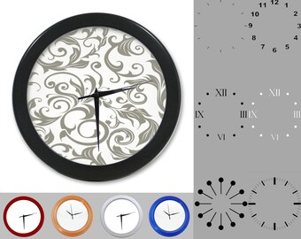 Gray Damask Wall Clock, Abstract Floral Design, Gray Artistic, Customizable Clock, Round Wall Clock, Your Choice Clock Face or Clock Dial