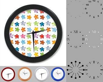 Flower Stamp Wall Clock, Colorful Kid Design, Bold Floral, Customizable Clock, Round Wall Clock, Your Choice Clock Face or Clock Dial