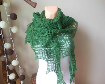 Lace shawl mohair yarn  dark green, hand knitted, triangular shawl