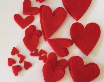33 Die cut felt Hearts,Mixed shapes and size, eco felt hearts, Scrapbooking supplies, Embellishments, Carft supplies,
