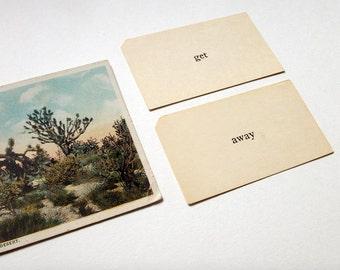 vintage flash cards- get away, find adventure, inspirational, motivational, paper ephemera, words, flash cards